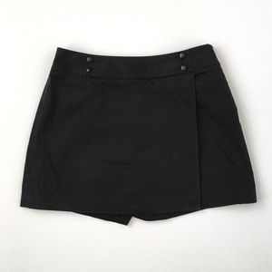 Ann Taylor Black Wrap Skirt Skort 4 Zipper Button
